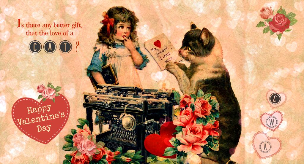 vintage Valentine cat- typewriter